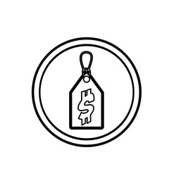 silhouette price tag icon with dollar sign vector illustration