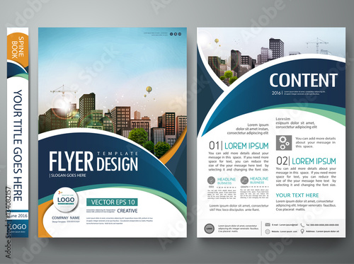 Brochure Design Template Vector Abstract Blue Circle Cover Book - Creative brochure design templates