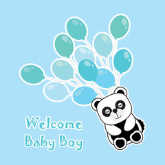 Baby shower card with baby panda brings blue balloons suitable for baby shower's greeting card, invitation card, and postcard