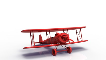 3d illustration of an red airplane with shadow  on white background