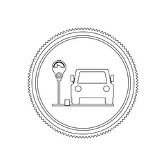 silhouette seal parking area for vehicles with parking meter vector illustration