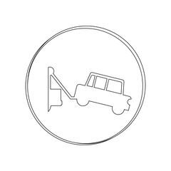 silhouette circular contour tow truck vector illustration
