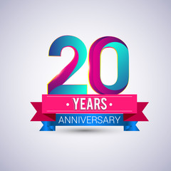 20 years anniversary logo, blue and red colored vector design