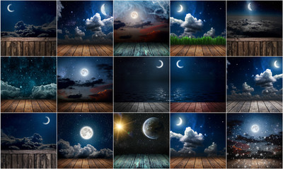 Wall Mural - collection background night sky with stars, moon and clouds. wood floor. Elements of this image furnished by NASA