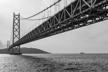 Black and White, Akashi Kaikyo Suspension Bridge in Kobe, Japan, The world's longest suspension bridge.