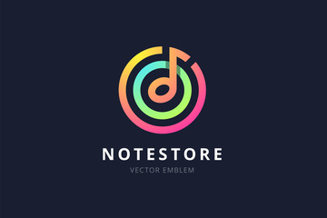 Music note store emblem.