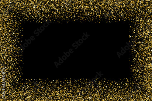 Gold Frame Glitter Texture Isolated On Black Golden Color Of