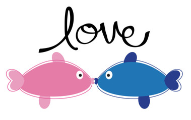Kissing Fish in Love