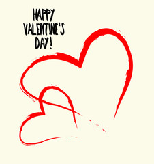 Card for Valentine's Day. Red hearts on a white background.