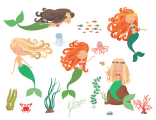 Sea collection. Mermaids and sea animals on a white background