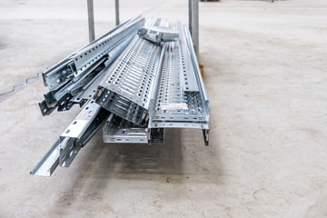 Metal cable tray waiting for installation