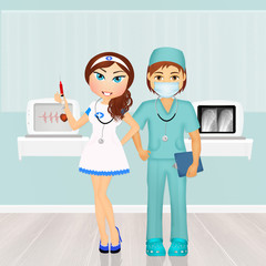 surgeon and nurse