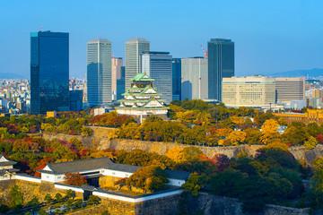 Osaka Castle in Osaka with autumn leaves, Japan