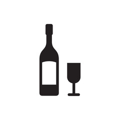wine glass and bottle icon illustration