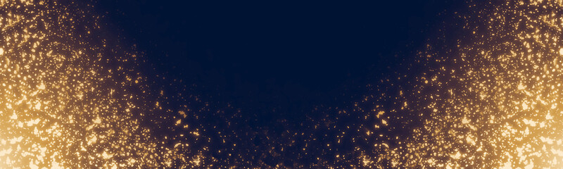 Gold Christmas Lights. Abstract golden Background. Panoramic view