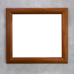 Wooden picture frame with gray background.