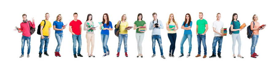 Group of smiling teenagers staying together Wall mural
