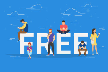 Free commercial offers concept illustration of young people using smartphones for online purchasing goods with discount and sale coupons. Flat design of guys and women near big letters