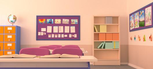 The interior of classroom.