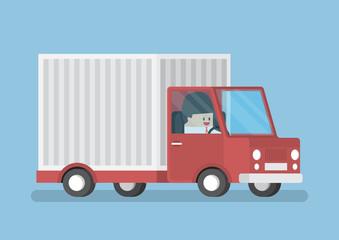 Businessman driving truck