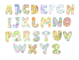 Alphabet, letters, drawing with crayons