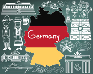 Travel to Germany doodle drawing icon with culture, costume, landmark and cuisine tourism concept in blackboard background, create by vector