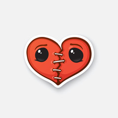 Sticker broken heart with eyes