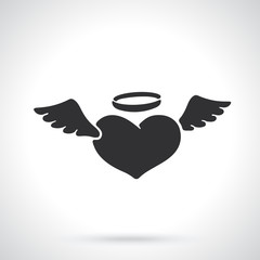 Silhouette of angel heart with wings