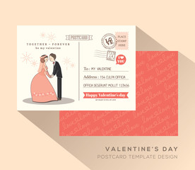 Cute Valentine postcard card design