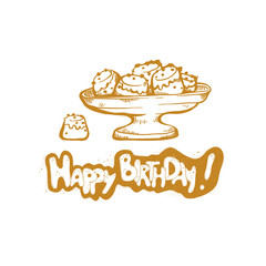 Happy Birthday. Vector golden sketch illustration of gift cake cup