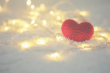 Red heart and Love Valentines day on white bokeh background.