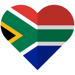 South Africa flat heart flag