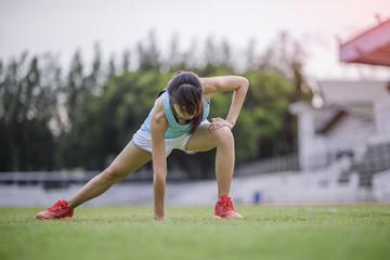 Sport Girl Exercise In Stadium