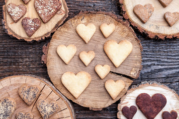 Delicious heart shaped cookies baked with love