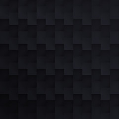 Volume realistic vector black texture, cubes, steps geometric pattern, design dark wallpaper