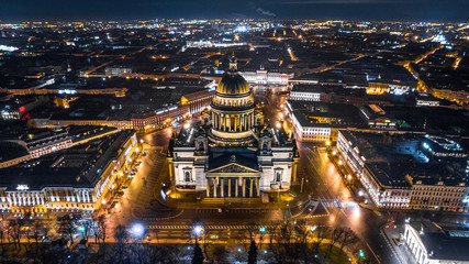 Saint Isaac's Cathedral in Saint Petersburg Aerial View