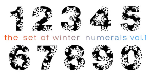 the set of winter black numerals with snowflakes