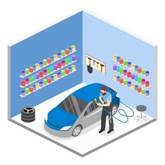 Isometric flat 3D isolated concept vector auto service garage