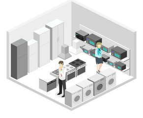 Isometric flat 3D concept vector cutaway interior household equipment store
