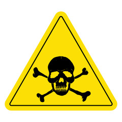 Yellow danger sign with skull.