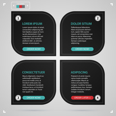 Modern web design template with four black paper options. Strict corporate business style. Useful for annual reports, presentations and media.