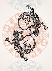 Gecko lizard in in tattoo style
