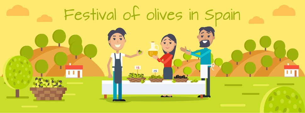 Festival of Olives in Spain Flat Vector Concept