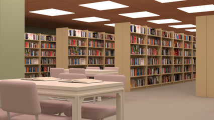 Big library with table,chairs and bookshelves.