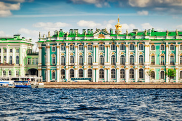 Hermitage palace and Neva river, Saint Petersburg, Russia.