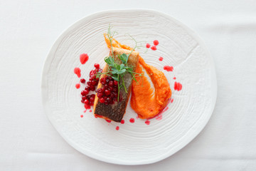 Fried salmon steak with pumpkin puree, red berry sauce and herbs