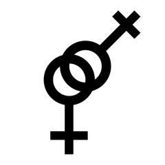 Sex lesbian black symbol. Gender woman symbol. Female abstract symbol. Vector Illustration