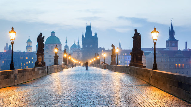 Prague - Czech Republic, Charles Bridge early in the morning.