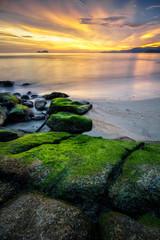 Panoramic view of sunset at Sungai Batu beach, Teluk Kumbar