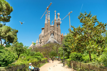 View from the green park to Sagrada Familia